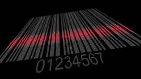 Codice a barre d'esplorazione da spazio, linea rossa di analizzatore che corre sulle linee illustrazione di stock