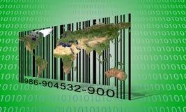 Codice a barre del file binario del mondo Fotografia Stock