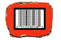 Codice a barre sul cartone di Torned Immagini Stock Libere da Diritti