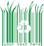 Codice a barre verde con il simbolo di eco e del testo Fotografie Stock Libere da Diritti