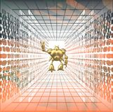 Codice binario astratto con il robot Fotografie Stock Libere da Diritti
