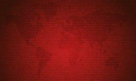 Codice binario con due cifre binarie, 0 e 1 sul fondo rosso della mappa Codice, decrittazione e la codifica di dati binari di alg immagini stock