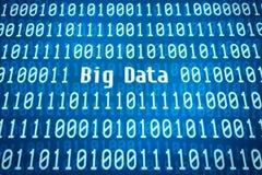 Codice binario con i grandi dati di parola Immagine Stock