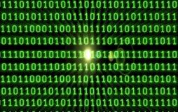 Codice binario con il chiarore Immagini Stock
