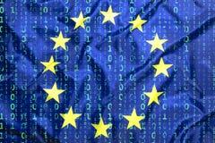 Codice binario con la bandiera di Unione Europea Fotografia Stock