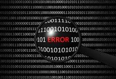 Codice binario con la lente di ingrandimento e di ERRORI Immagini Stock Libere da Diritti