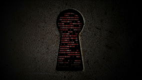 Codice binario del computer attraverso il buco della serratura