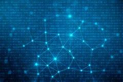 codice binario dell'illustrazione 3D su fondo blu Byte del codice binario Tecnologia di concetto Cenni storici binari di Digitahi illustrazione di stock