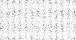 Codice binario della matrice Flusso di dati del computer, codici di sicurezza digitali e fondo astratto di codifica grigio di vet illustrazione vettoriale