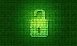 Codice binario di Digital con la serratura aperta immagini stock libere da diritti