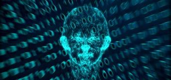 Codice binario di Mesh Of Human Head On della connessione di rete astratta Fotografie Stock