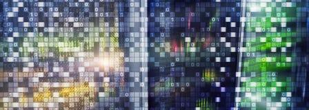 Codice binario sul fondo di centro dati Concetto cyber dello spazio Carta da parati di UniqueTechnology immagini stock