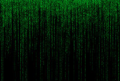 Codice binario verde su priorità bassa nera Immagini Stock
