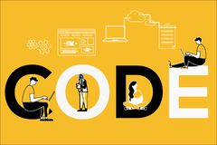 Codice creativo e la gente di concetto di parola che fanno le cose illustrazione vettoriale