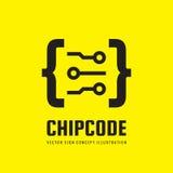 Codice del chip - vector l'illustrazione di concetto del modello di logo Segno creativo astratto di Digital Elemento di disegno illustrazione vettoriale