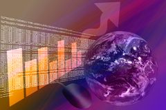 Codice del HTML con il globo e la freccia del grafico in su Immagine Stock