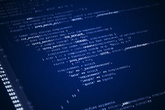 Codice di Javascript di Web page sul video del calcolatore Fotografie Stock