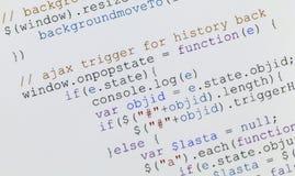 Codice di Javascript di Web page sul video del calcolatore Fotografia Stock