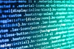 Codice di Javascript nel software del sostegno L'ottimizzazione del motore di ricerca per i migliori posti con l'ancora etichetta immagine stock libera da diritti