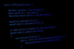 Codice di programma sullo schermo nero Immagini Stock Libere da Diritti