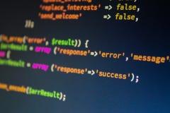Codice di programmazione del computer variopinto Fotografie Stock
