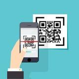 Codice di ricerca QR al telefono cellulare Ricerca elettronica, technolo digitale Immagini Stock