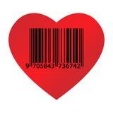 Codice ean del cuore Fotografia Stock Libera da Diritti