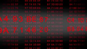 Codice esadecimale - flusso di dati - progetti il rosso stock footage