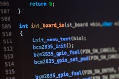 Codice sorgente di linguaggio di programmazione di C Fotografie Stock