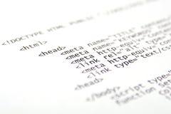 Codice stampato del HTML Fotografia Stock
