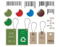 Codici a barre, autoadesivi, riscontro e contrassegni nel vettore illustrazione di stock