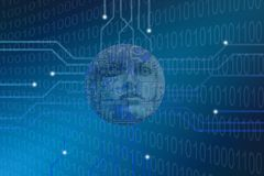 Codici binari di umanoide di concetto futuristico di intelligenza artificiale fotografia stock