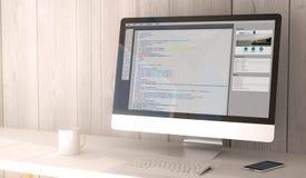 codificação do computador de secretária Imagem de Stock Royalty Free