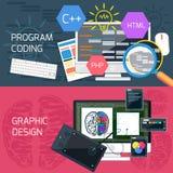 Codifica di programma e progettazione grafica illustrazione vettoriale