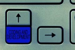 Codifica e sviluppo del testo di scrittura di parola Concetto di affari per gli assemblatori semplici di costruzione di programma fotografie stock libere da diritti