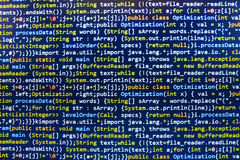Codificación de la pantalla programada del código fuente Fotografía de archivo libre de regalías