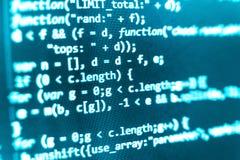 Codificación de la pantalla programada del código fuente Fotos de archivo