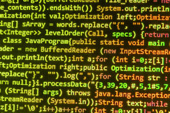 Codificación de la pantalla programada del código fuente Foto de archivo