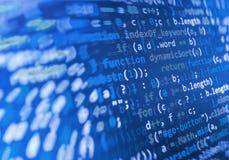 Codificación de la pantalla programada del código fuente Exhibición de datos abstracta colorida Escritura del programa del web de