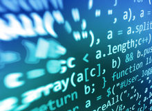 Codificación de la pantalla programada del código fuente Exhibición de datos abstracta colorida Escritura del programa del web de imágenes de archivo libres de regalías