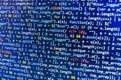 Codificación de la pantalla programada del código fuente Exhibición de datos abstracta colorida Escritura del programa del web de fotos de archivo libres de regalías