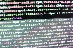 Codificación de las TIC en la pantalla de monitor Base de datos grande app de los datos Primer del lenguaje de marcado del HTML imagenes de archivo