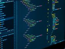 Codificación del HTML y del css en el IDE, macro Desarrollo web Código fuente del software fotos de archivo libres de regalías