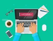 Codificación del programador, ordenador portátil, escritorio del trabajo, freelancer que se sienta en la tabla stock de ilustración