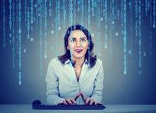 Codificación sorprendente de la Software Engineer de la mujer joven usando un ordenador que se sienta en su oficina fotografía de archivo