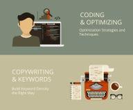 Codificación y el copywriting ilustración del vector