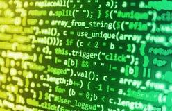 Codificación de la pantalla programada del código fuente Imagen de archivo