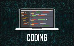 Codificando concetto del computer portatile sul fondo binario Desktop e contesto di programmazione della matrice Monitor con il c illustrazione di stock