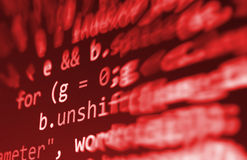 Codificando a tela de programação do código fonte Exposição de dados abstrata colorida Roteiro do programa da Web do programador  imagens de stock