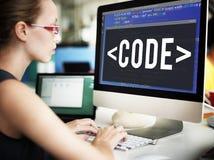 Codifichi il concetto tecnico di programmazione della tecnologia di codifica Fotografie Stock